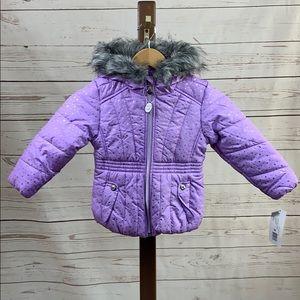 R88 by Rothschild Purple Puffer w/Faux Fur Hood